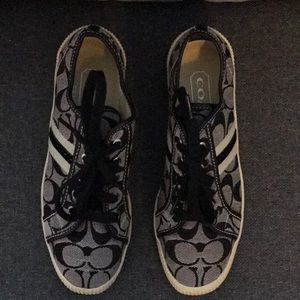 Coach sneakers euc black and beige